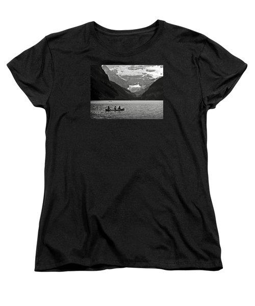 Kayak On Lake Louise Women's T-Shirt (Standard Cut) by RicardMN Photography