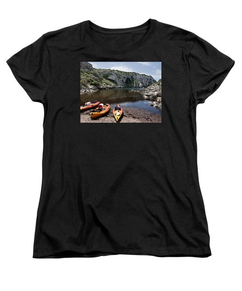 Kayak Time - The Landscape Of Cales Coves Menorca Is A Great Place For Peace And Sport Women's T-Shirt (Standard Cut) by Pedro Cardona