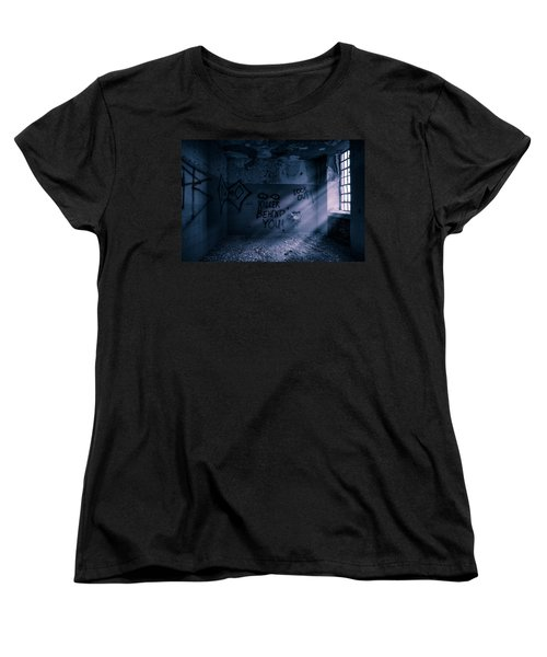 Women's T-Shirt (Standard Cut) featuring the photograph Killer Behind You - Abandoned Hospital Asylum by Gary Heller