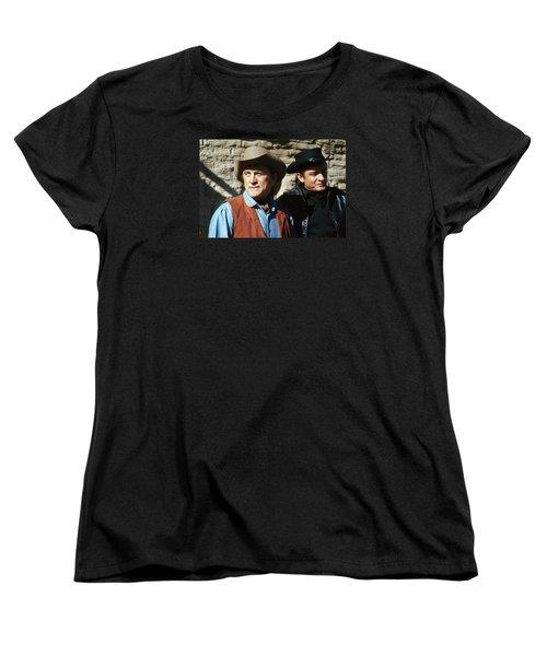 Women's T-Shirt (Standard Cut) featuring the photograph Kirk Douglas Johnny Cash A Gunfight  Old Tucson Arizona 1971 by David Lee Guss