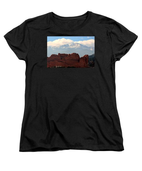 Kissing Camels Against Pikes Peak Women's T-Shirt (Standard Cut) by Clarice  Lakota