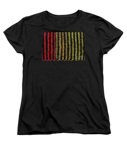 Women's T-Shirt (Standard Cut) featuring the photograph Knitted Striped Scarf by Les Palenik