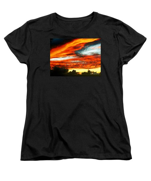 Women's T-Shirt (Standard Cut) featuring the photograph Kona Sunset 77 Lava In The Sky  by David Lawson