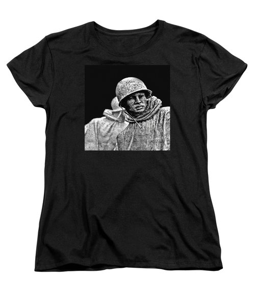 Women's T-Shirt (Standard Cut) featuring the painting Korean War Veterans Memorial by Bob and Nadine Johnston