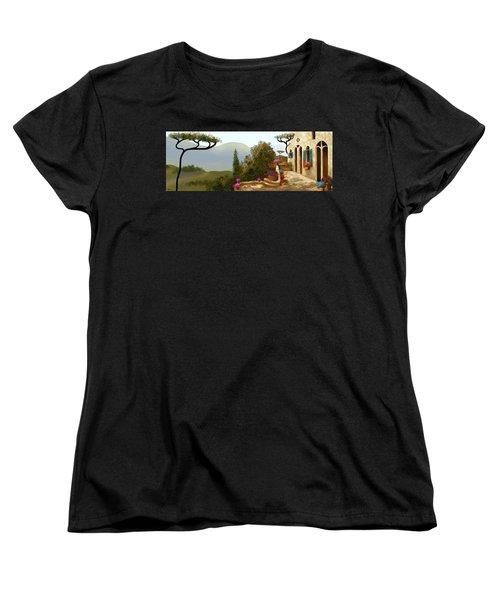 La Bella Terrazza Women's T-Shirt (Standard Cut) by Larry Cirigliano