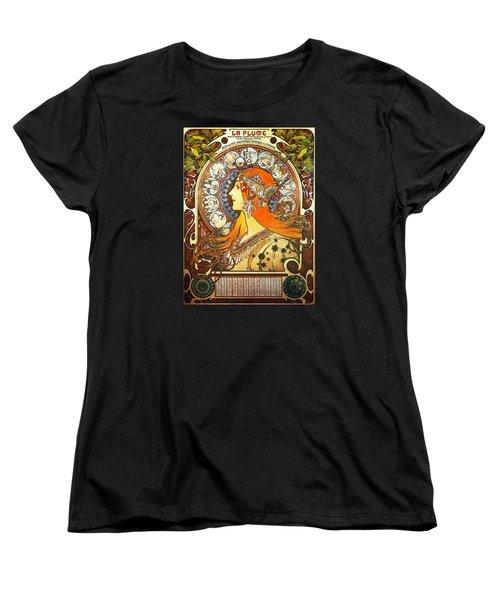 La Plume Zodiac Women's T-Shirt (Standard Cut) by Alphonse Mucha