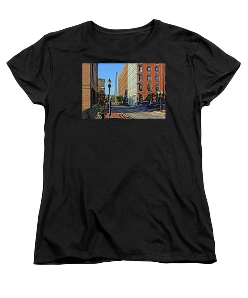 Laclede's Landing Just North Of The Arch Women's T-Shirt (Standard Cut) by Greg Kluempers