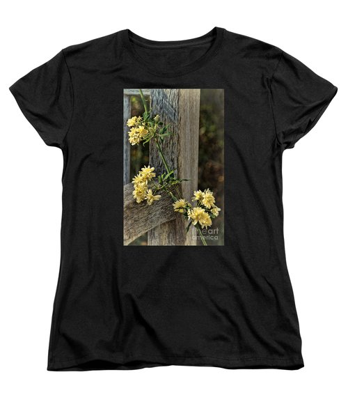 Lady Banks Rose Women's T-Shirt (Standard Cut) by Peggy Hughes
