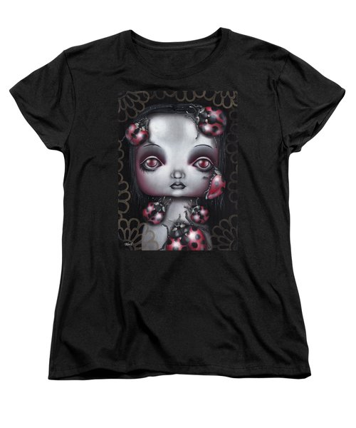 Lady Bug Girl Women's T-Shirt (Standard Cut) by Abril Andrade Griffith