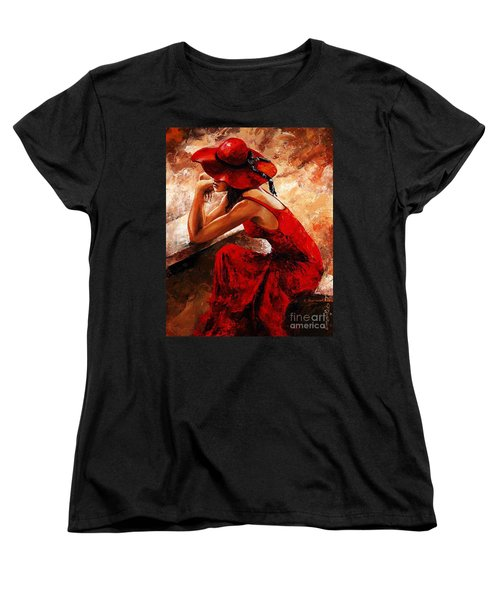 Lady In Red 21 Women's T-Shirt (Standard Cut) by Emerico Imre Toth
