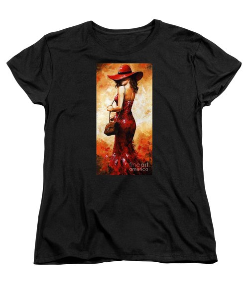 Lady In Red  30 Women's T-Shirt (Standard Cut) by Emerico Imre Toth