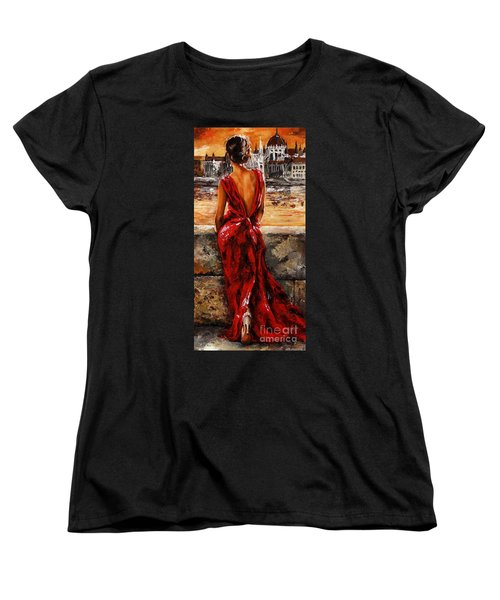 Lady In Red  34 -  I Love Budapest Women's T-Shirt (Standard Cut) by Emerico Imre Toth