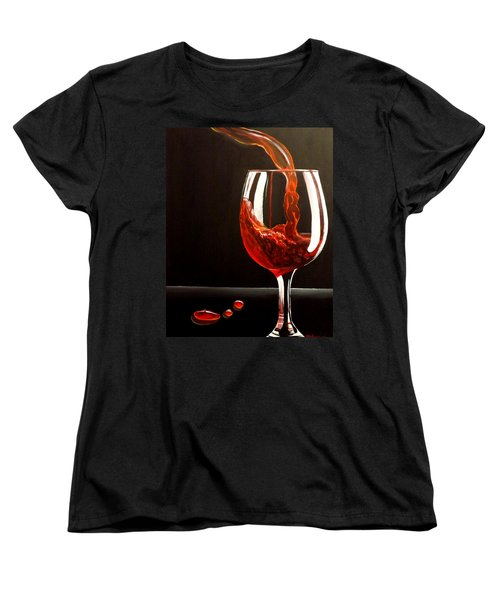 Women's T-Shirt (Standard Cut) featuring the painting Lady In Red by Darren Robinson