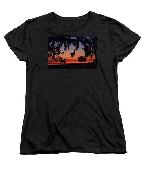 Lakefront Sunset Women's T-Shirt (Standard Cut) by Charlotte Schafer