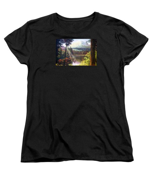 Landscape-lake And Trees Women's T-Shirt (Standard Cut) by Loxi Sibley