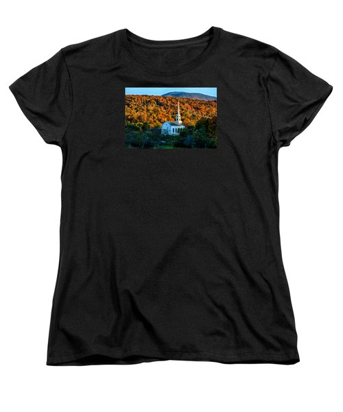Last Rays Of Autumn Sun On Stowe Church Women's T-Shirt (Standard Cut) by Jeff Folger