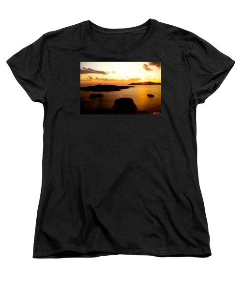 Late Sunset Santorini  Island Greece Women's T-Shirt (Standard Cut) by Colette V Hera  Guggenheim