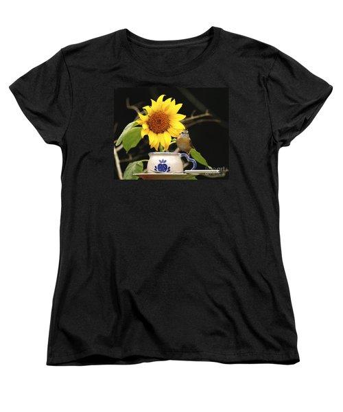 Women's T-Shirt (Standard Cut) featuring the photograph Carolina Wren Bird And Tea Cup by Luana K Perez