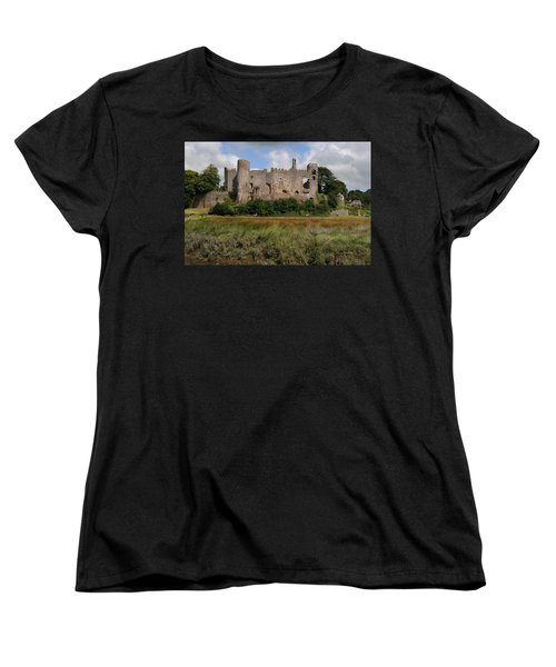Laugharne Castle Women's T-Shirt (Standard Cut) by Jeremy Voisey