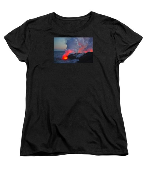Lava Flow At Sunset In Kalapana Women's T-Shirt (Standard Cut) by Venetia Featherstone-Witty