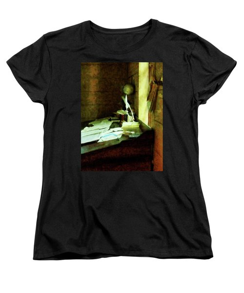 Women's T-Shirt (Standard Cut) featuring the photograph Lawyer - Desk With Quills And Papers by Susan Savad