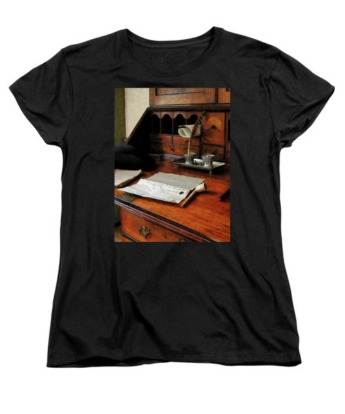 Women's T-Shirt (Standard Cut) featuring the photograph Lawyer - Quill Papers And Pipe by Susan Savad