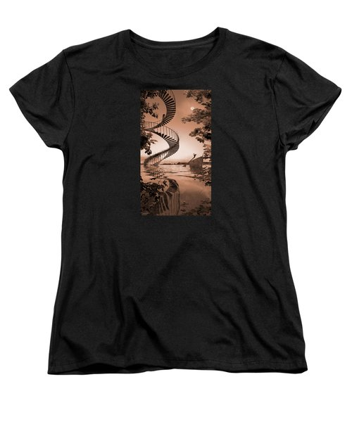 Women's T-Shirt (Standard Cut) featuring the digital art Life Without Stairs by Shinji K