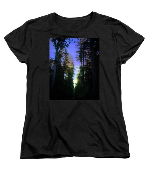 Women's T-Shirt (Standard Cut) featuring the digital art Light Through The Forest by Cathy Anderson