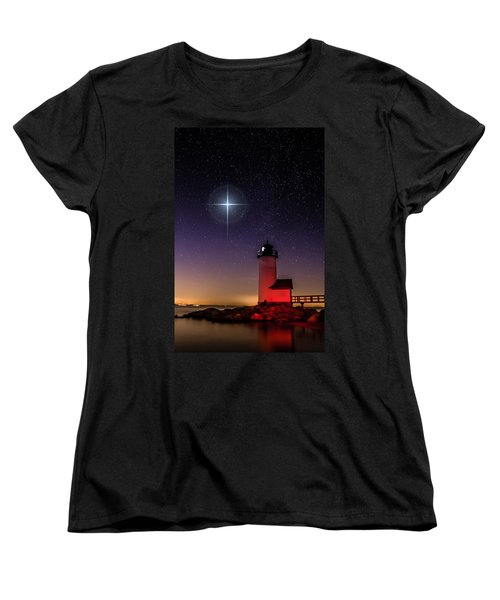 Women's T-Shirt (Standard Cut) featuring the photograph Lighthouse Star To Wish On by Jeff Folger