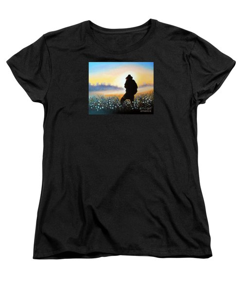Women's T-Shirt (Standard Cut) featuring the painting Lighthunter by Vesna Martinjak