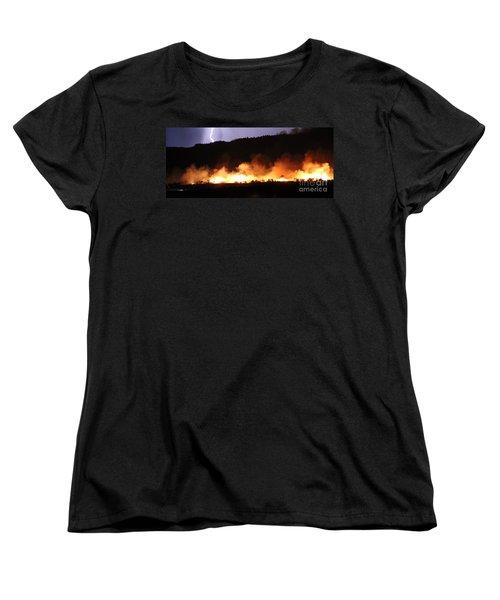 Women's T-Shirt (Standard Cut) featuring the photograph Lightning During Wildfire by Bill Gabbert