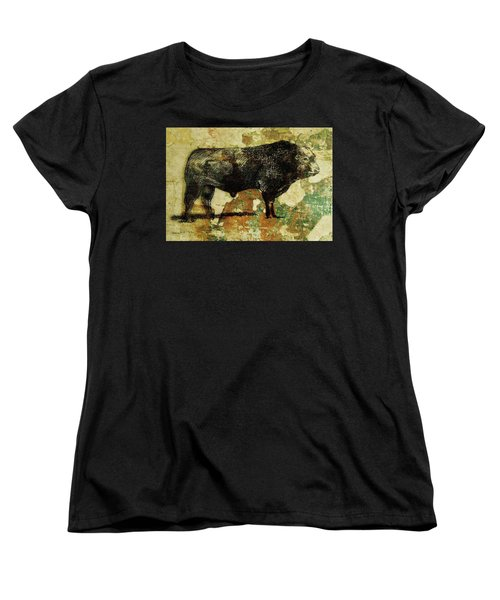 Women's T-Shirt (Standard Cut) featuring the drawing French Limousine Bull 11 by Larry Campbell