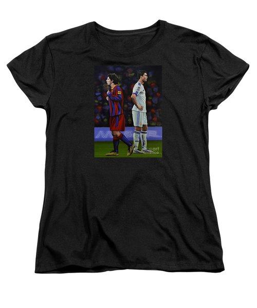 Lionel Messi And Cristiano Ronaldo Women's T-Shirt (Standard Cut) by Paul Meijering
