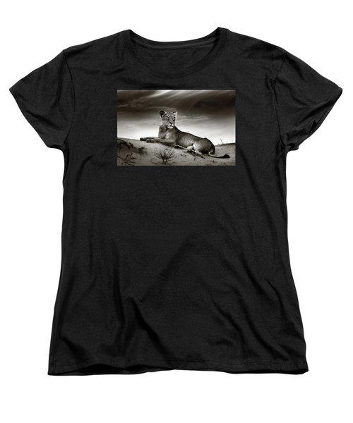 Lioness On Desert Dune Women's T-Shirt (Standard Cut) by Johan Swanepoel