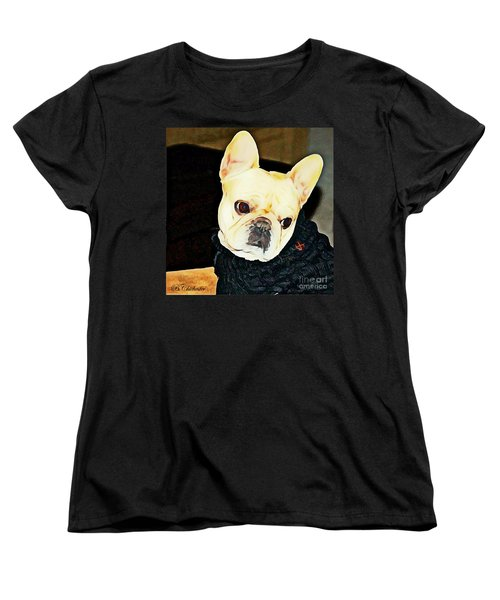 Women's T-Shirt (Standard Cut) featuring the painting Little Black Sweater by Barbara Chichester
