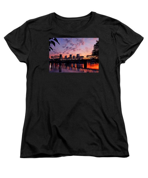 Women's T-Shirt (Standard Cut) featuring the photograph Little Rock Bridge Sunset by Mitchell R Grosky