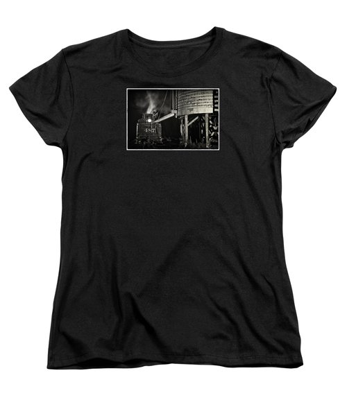 Women's T-Shirt (Standard Cut) featuring the photograph Loading Water At Chama Train Station by Priscilla Burgers