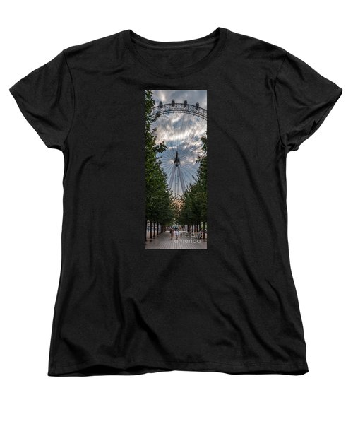 London Eye Vertical Panorama Women's T-Shirt (Standard Cut) by Matt Malloy