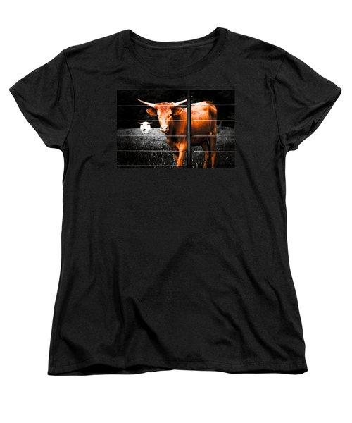 Women's T-Shirt (Standard Cut) featuring the photograph Longhorn Curiosity by Bartz Johnson