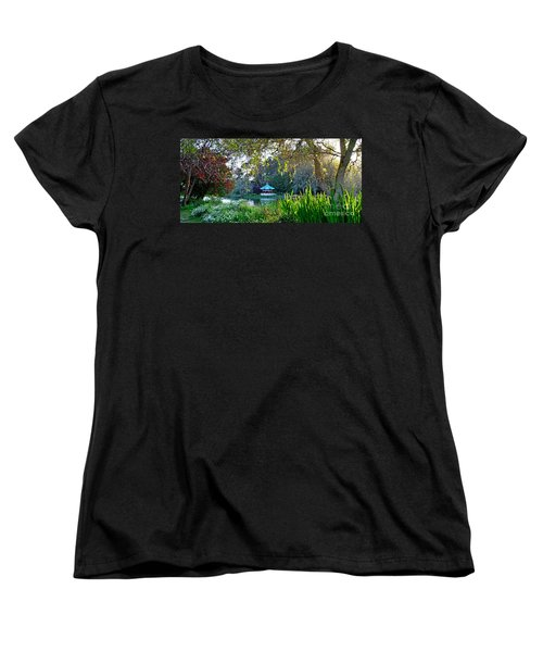 Looking Across Stow Lake At The Pagoda In Golden Gate Park Women's T-Shirt (Standard Cut) by Jim Fitzpatrick