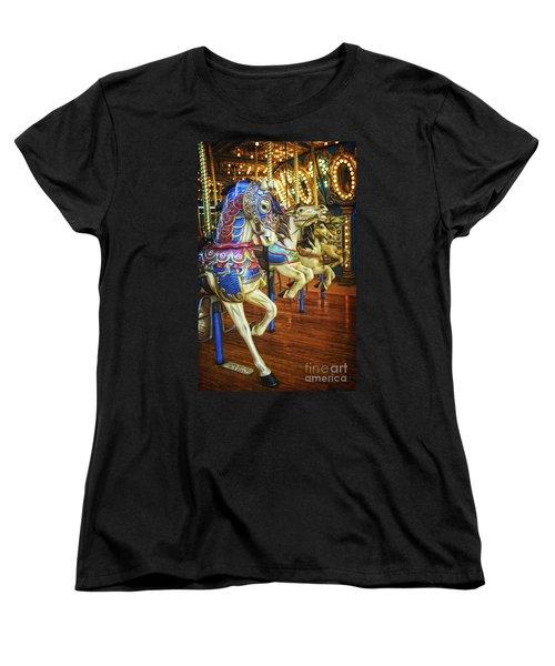 Women's T-Shirt (Standard Cut) featuring the photograph Dancing Horses by Debra Fedchin