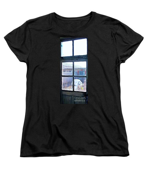 Women's T-Shirt (Standard Cut) featuring the photograph Looking Out The Kitchen Door In February by Ethna Gillespie