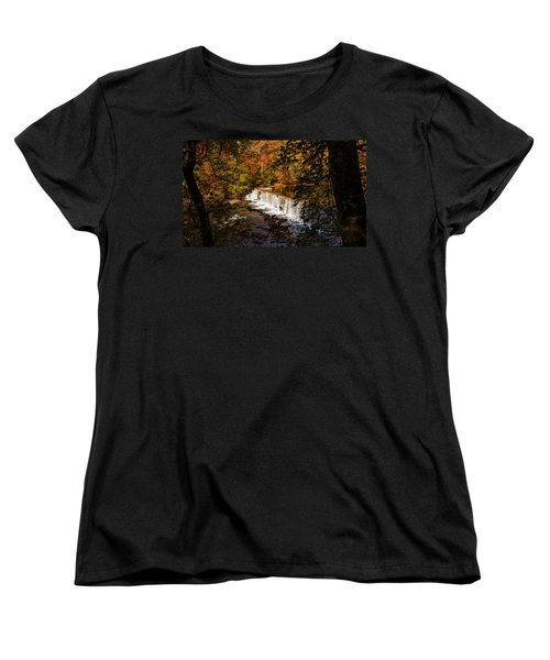 Looking Through Autumn Trees On To Waterfalls Fine Art Prints As Gift For The Holidays  Women's T-Shirt (Standard Cut) by Jerry Cowart