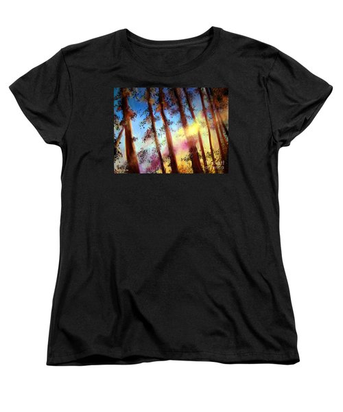 Women's T-Shirt (Standard Cut) featuring the painting Looking Through The Trees by Alison Caltrider