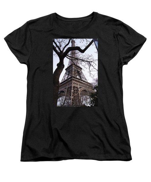 Looking Up To Eiffel  Women's T-Shirt (Standard Cut) by Debi Demetrion