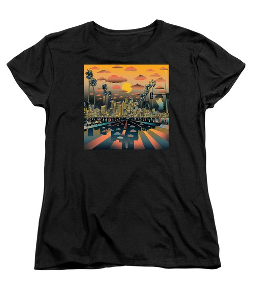 Los Angeles Skyline Abstract 2 Women's T-Shirt (Standard Cut) by Bekim Art