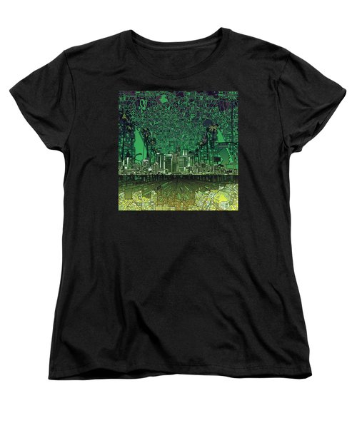 Los Angeles Skyline Abstract 6 Women's T-Shirt (Standard Cut) by Bekim Art