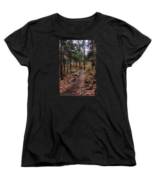 Women's T-Shirt (Standard Cut) featuring the photograph Lost In Thought On The Blue Ridge Parkway Trail by Debbie Green