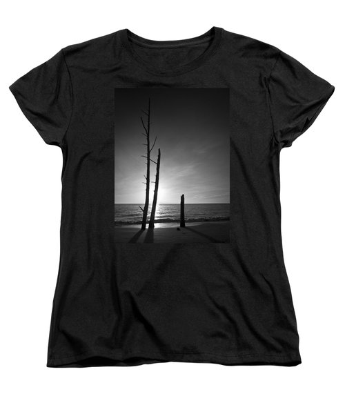 Lovers Key Sunset Black And White One Women's T-Shirt (Standard Cut) by Bradley R Youngberg