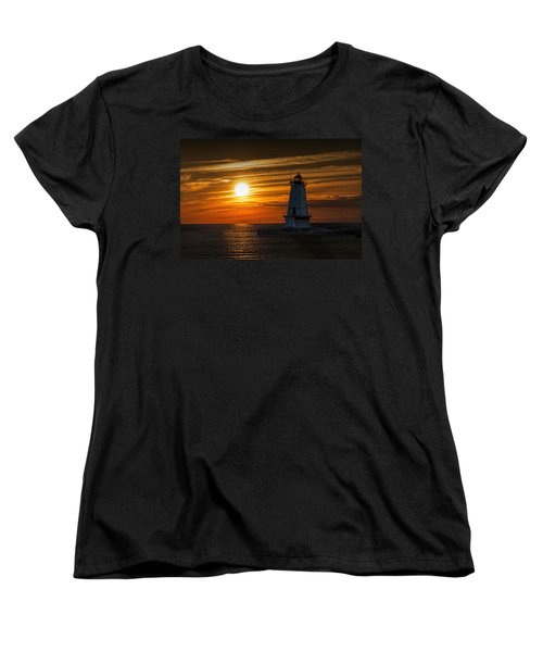 Ludington Pier Lighthead At Sunset Women's T-Shirt (Standard Cut)